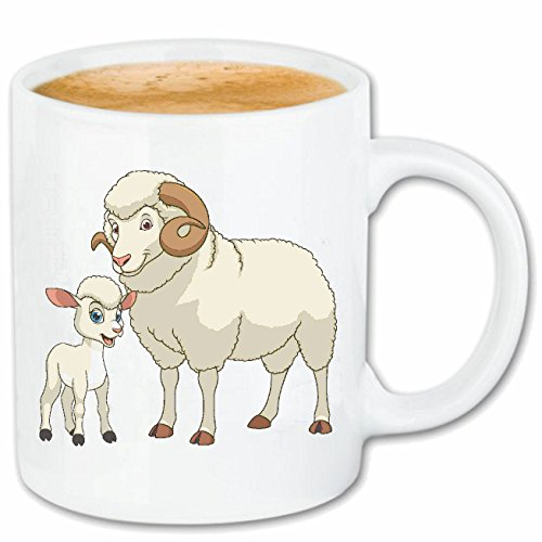 Reifen-Markt Kaffeetasse SCHAFBOCK MIT SEINEM KLEINEN Schaf - SCHÄFER - Schafe - SCHAFSHERDE - SCHAFSWOLLE Keramik 330 ml in Weiß