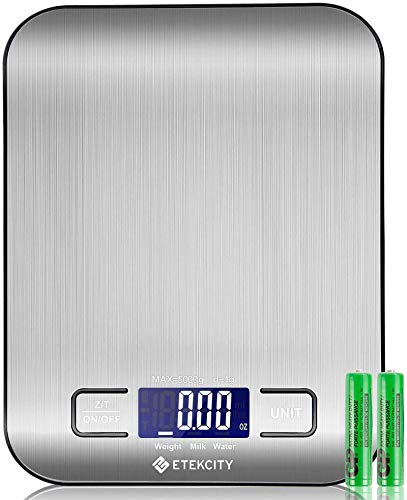 Etekcity Báscula de Cocina Digital de Acero Inoxidable, Balanza Cocina de Alta Precisión 5 kg/ 11 lbs, Peso Cocina con Pantalla LCD, Multifuncional, 2 Baterías Incluidas, EK6020
