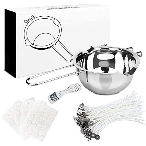 Kerzenherstellung Kit,Kerzen selber Machen, Schmelztopf Schmelzschale für DIY Kerzenherstellung Handwerk,ungiftig und sicher, Gießen von Krugkerzen Kunst- und Bastelbedarf (Kapazität- 400 ml)