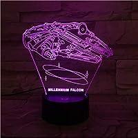 3D LED錯視ランプ ナイトライトランプウォーズ車両タイファイターナイトライトキッズ用ベッドルームデコレーションスターシップギフトキッズ用