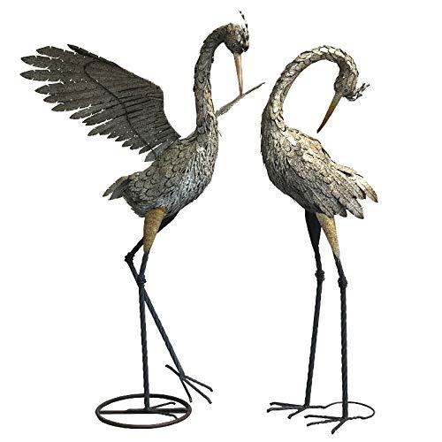 L'ORIGINALE DECO Couple d'oiseaux Héron Statue de Jardin en Fer Métal 133 cm