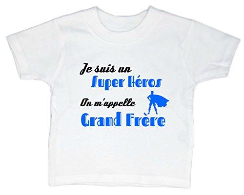 Les lutins de Camille-T-Shirt Humour garçon bébé/Enfant, Je suis Un Super héros, on m'appelle Grand frère (2 Ans, Blanc)