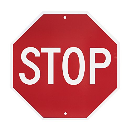 NMC TM34R Traffic Sign, 'STOP', 18' Width x 18' Height, Rigid Plastic, White on Red