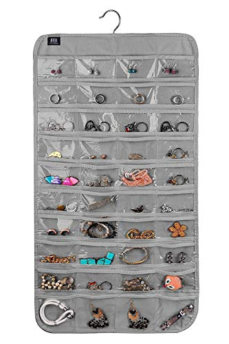 BB Brotrade Hanging Jewelry Organizer,Accessories Organizer,80 Pocket Organizer for Holding Jewelries (Grey)