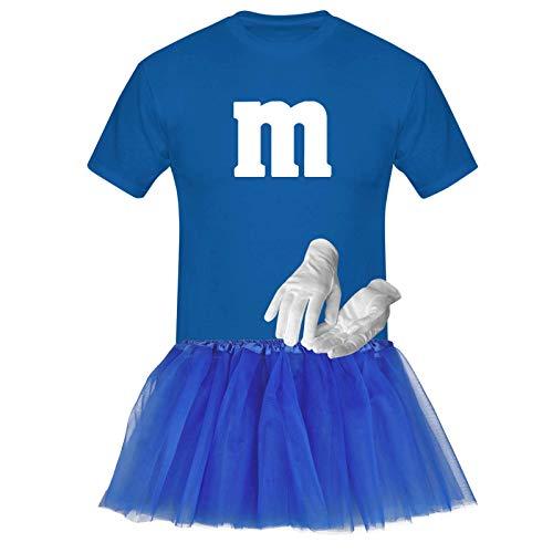 T-Shirt M&M + Tüllrock Karneval Gruppenkostüm Schokolinse 8 Farben Herren XS-5XL Fasching Verkleidung M's Tanzgruppe, Gr.:2XL, Farbauswahl:Royalblau - Logo Weiss (+Handschuhe Weiss/Tütü Royalblau)