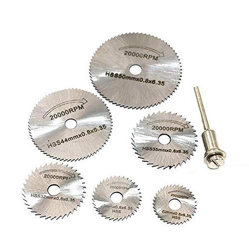 Hoja de sierra circular 6 piezas de metal HSS de sierra circular disco de la rueda cuchillas Cut Off taladro Herramientas rotativas cortes finos de precisión for el pequeño corte trabajos puntuales Pa