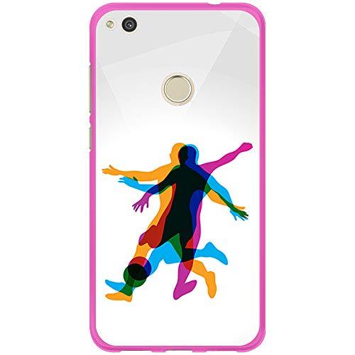 BJJ SHOP Funda Rosa para [ Huawei P8 Lite 2017 ], Carcasa de Silicona Flexible TPU, diseño: Jugador de Futbol en Movimiento 3D