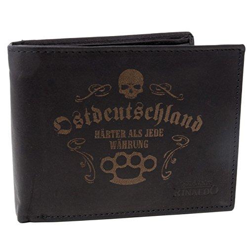 Brieftasche Geldbörse DDR Ostdeutschland aus Rind Leder mit Gravur