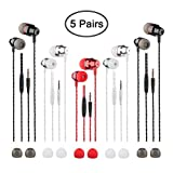 5 Packs Earbud Headphones with Remote & Microphone, findTop in Ear Earphone Brass