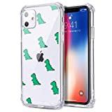 MAYCARI Cute Cartoon Dinosaur Pattern Printed Clear Design Phone Case for iPhone 11, Shockproof Hard PC Back + Soft TPU Bumper Scratch-Resistant Cover Green Dinosaurs