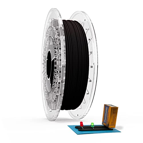Filamento Filaflex Conductivo TPU flexible conductor de electricidad compatible con la mayoría de las impresoras 3D del mercado con una dureza shore 92A,1.75mm 500 gr, Negro