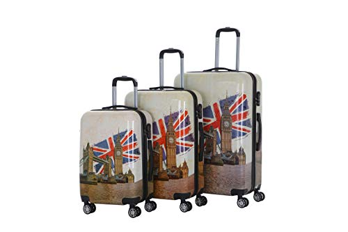 """XEOHome London Eye Design Luggage Sets 3pcs Hard Shell Suitcases with 4 Spinner Wheels Light Weight ABS Travel Trolley Case 20"""" 24"""" 28"""""""