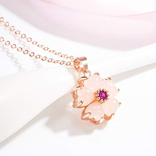 YUXIwang Pulsera Natural Rosa Jade Flor Colgante Collar 925 Joyería Moda Calcedonia Amuleto Regalos para Mujeres