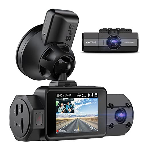 Vantrue N2S Dual Dash Cam with GPS, 4K 2160P Single Front, 1440P QHD Front and Inside, Uber Car...