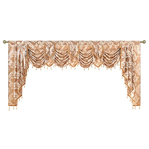 NAPEARL Window Valance for Bedroom, Damask Wide Rod Pocket Valance Curtains for Windows, Beaded Waterfall Valance for Living Room, 101-Inch Wide