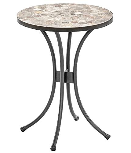 Dehner Blumenhocker Grazia, Ø 41 cm, Höhe 54 cm, Metall/Stein, mosaikoptik, grau/braun