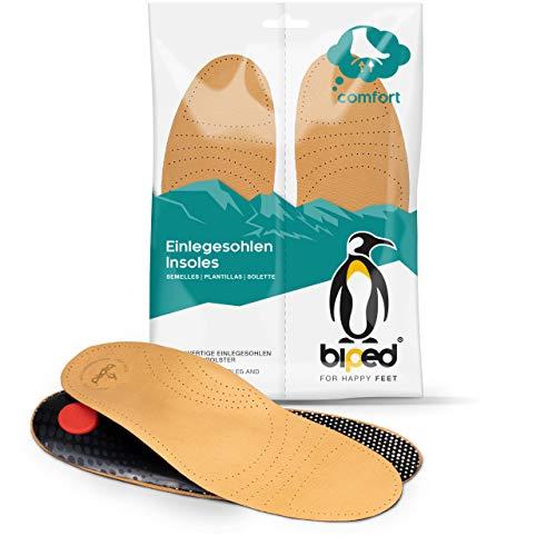 biped Premium Fußbett aus pflanzlich gegerbtem Leder - mit Pelotte - Mittelfußstütze - Fersenpolster und Aktivkohle z1706 (45)