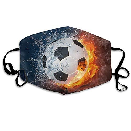 Multifunktionale Gesichtsschutzhülle,Cooles Wasser Feuer Fußball Fußball Druck Gedruckt Unisex Waschbar Wiederverwendbare Gesichtsdekorationen Für Den Persönlichen Schutz