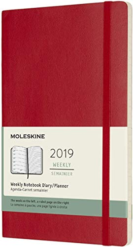 Moleskine Classic 12 Month 2019 Weekly Planner, Soft Cover, Large (5' x 8.25') Scarlet Red