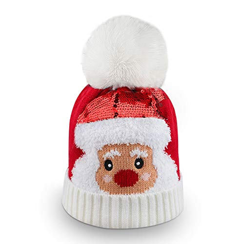 Kids Winter Knit Hat, Soft and Comfort Christmas Beanie Hat Kids Winter Hat Knitted Santa Hat with Thicken Fur Pom Pom Sequin Winter Hats for Children Boys Girls Christmas New Year Festive Supplies