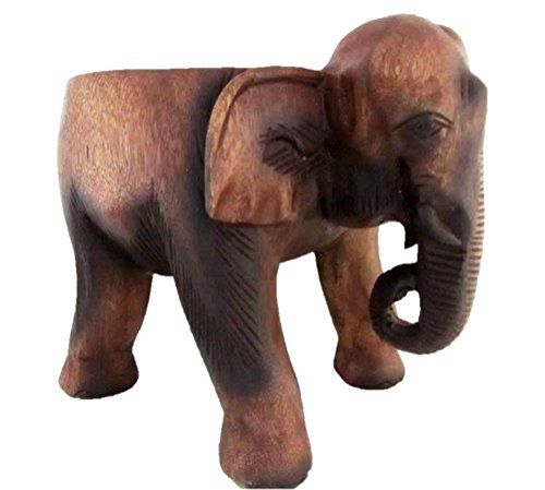 Land of Simple Treasures Hand Carved Wooden Elephant Stool - Thai Elephant Floor Statue - Indoor Plant Stand, Foot Stool, Made in Thailand, Brown, 12 Inches High