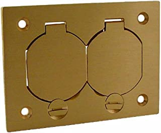 Hubbell-Raco 6250 Single-Gang Rectangular Floor Box Duplex Cover with Lift Lids Brass Finish