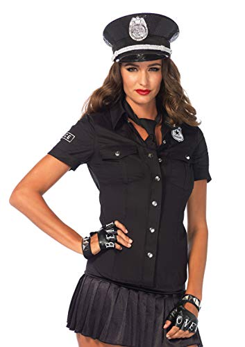LEG AVENUE 2640-2Tl. Kostüm Set Polizeihemd, Größe S, schwarz, Damen Karneval Kostüm Fasching