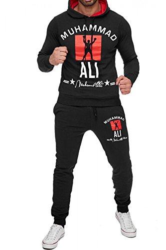 Herren Trainingsanzug Zweiteiler Boxing Jogginganzug Muhammad Ali, Farben:Schwarz, Größe Pullover:XL
