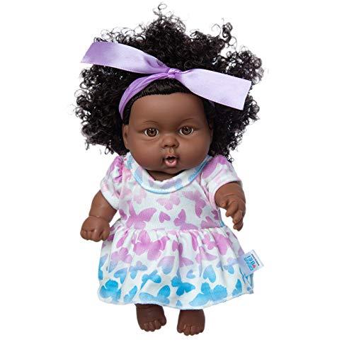 Juego de muñeca y ropa para bebé de 25 cm, color negro, de silicona, lavable, realista, con ropa de moda, ideal como regalo para niños y niñas