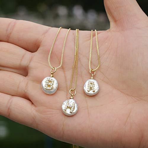 Dfgh White aanvankelijke 26 letter van het alfabet natuurlijke munt zoetwater parel charme gouden zilveren hanger dunne ketting choker ketting for vrouwen (Length : 45cm, Main Stone Color : Gold)