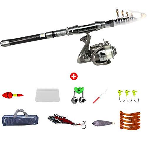 LCSD Caña de pescar 1.5 m Full Carbon Caña de pescar Set Pesca Grande Lanzamiento Esposas Luz Pesca Caña Pesca Equipo