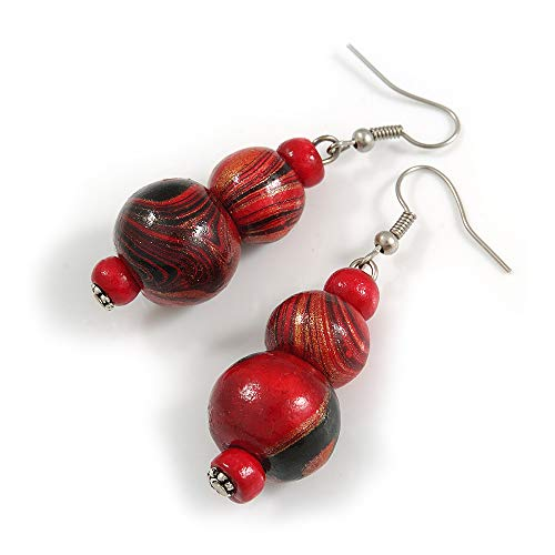 Red/Black/Golden Colour Fusion Wood Bead Drop Earrings with Silver Tone Closure - 55mm Long