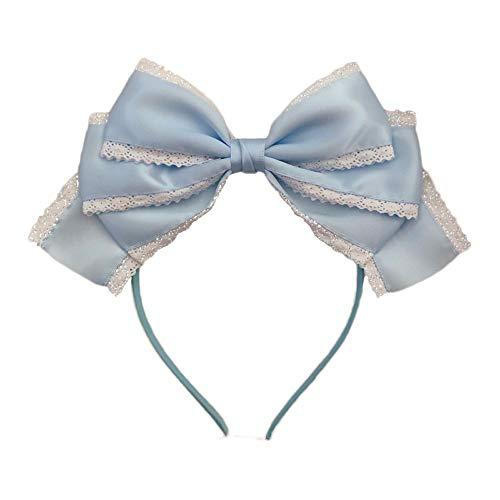 lolita satin gros noeud cheveux hoop mesdames bandeaux 9 couleurs (Light blue)