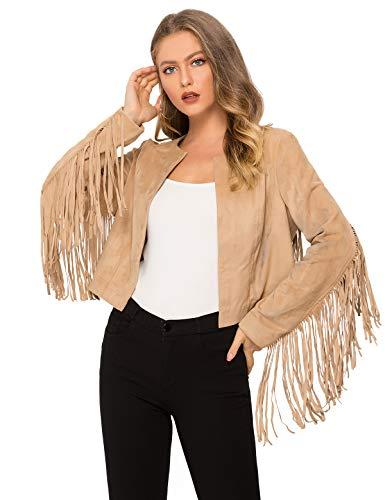 Women's Fringe Jacket Long Sleeve Faux Suede Cowgirl Jackets Open Front Tassel Coat Moto Biker Jackets Tops Female