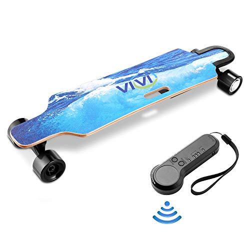 Vivi H2B Elektro Skateboard Jugend Elektro Longboard mit drahtloser Fernbedienung, 20KM/H Höchstgeschwindigkeit, 350W Doppelantriebsmotor, 8 Lagen Ahorn Longboard