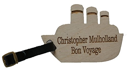 Ship/Boat Shaped Custom Personalised Luggage Tag with Leather Strap & Buckle