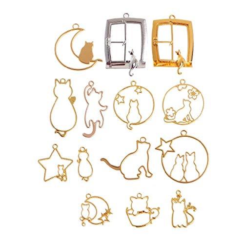 14 colgantes de bisel con parte trasera abierta, diseño de gato, marco de resina, marco abierto, para hacer joyas, colgantes con marco geométrico