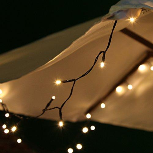 Festive Lights Guirlande Lumineuse Jardin Solaire 100 LED pour la Décoration Extérieure 10 mètres (Blanc Chaud)