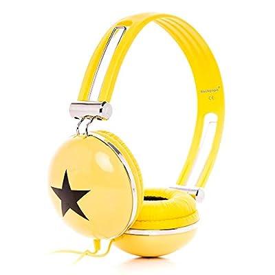RockPapa Adjustable Stereo Star Kids Headphones Earphones, Over Ear, Headphone for Girls Boys Teens Childs Adults, Soft Earpad, Deep Bass for MP3 MP4 DVD Tablets Laptop TV Yellow