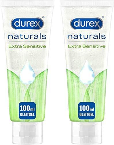 Durex Naturals Gleitgel auf Wasserbasis – Gleitmittel aus 100% natürlichen Inhaltsstoffen und mit Intim-Balance-Formel – 2 x 100 ml in der Tube