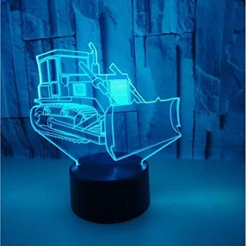 ARMAC Luz nocturna de ilusión 3D, Bulldozer Ilusión Óptica Luz de Noche LED de Mesa Lámpara de Escritorio Decorativa Remoto Regalo