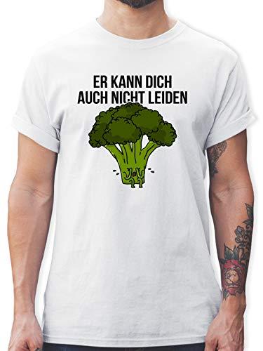 Sprüche - Er kann Dich auch Nicht Leiden - 3XL - Weiß - gemüse Tshirts - L190 - Tshirt Herren und Männer T-Shirts