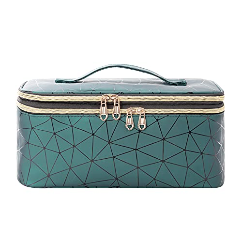 AFUOWER Double Layer Travel Makeup Bag with Handle Large Cosmetic Case Organizer for Women and Girls(Bag Only)