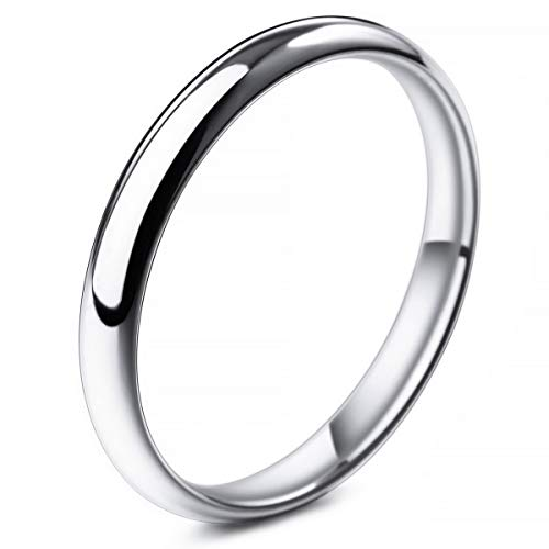 MunkiMix Ancho 3mm Acero Inoxidable Banda Venda Anillo Ring El Tono De Plata Alianzas Boda Talla Tamaño 17 Hombre,Mujer