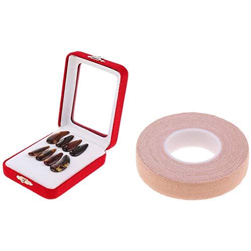 Liapianyun 1-Er Pack Guzheng Fingerpicks Mit 500 cm Klebeband, Guzheng Nägel Klein/Mittel/Groß Ideal Für Erwachsene Und Junge Guzheng-Spieler Anti-Allergie-Klebeband,L
