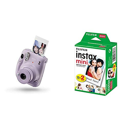 Instax Mini 11 - Cámara instantánea, Lilac Purple, Compacto + Fujifilm Instax Mini Brillo - Película fotográfica instantánea (2 x 10 Hojas)