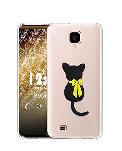 Sunrive Cover per Samsung Galaxy S4, Custodia 3D Case in Molle Trasparente Silicone Morbida Flessibile AntiGraffio Protettiva Back custodie(W1 Gatto)
