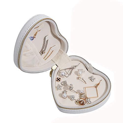 qddan Caja de joyería organizadora de joyería de joyería para Anillos, Pendientes, Collares para niñas Mujeres Viajes Regalo (Color : Blanco)