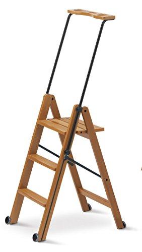 Arredamenti Italia Escalera 3 peldaños TUSCANIA, madera - Plegable - Con sistema de seguridad - Color: madera de cerezo'Ar-It il cuore del legno'