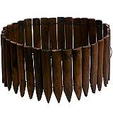 JonesHouseDeco Borde de madera para jardín al aire libre, jardín, paisaje, borde decorativo flexible, acabado de madera quemada, longitud 120 cm x altura 30 cm - marrón oscuro
